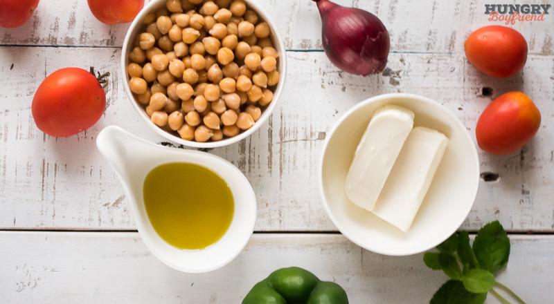 Ингредиенты для салата из консервированного нута