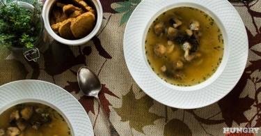 Суп из белой фасоли и шампиньонов
