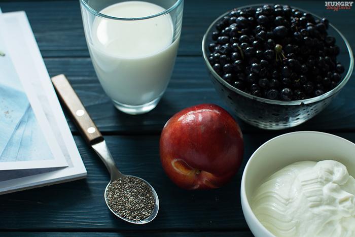 Ингредиенты для черничного смузи