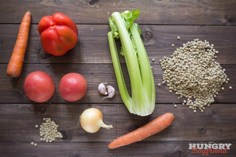 Ингредиенты для супа с чечевицей