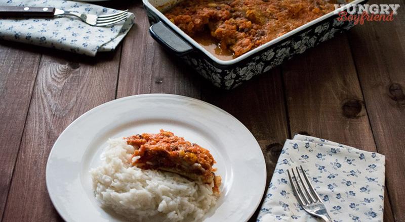 Рыба в миндально-томатном соусе запеченная в духовке
