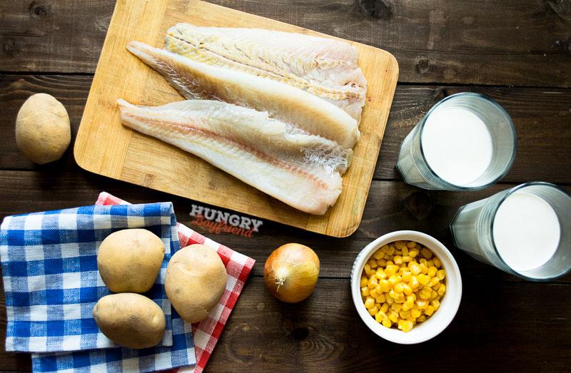 Ингредиенты для рыбного супа с кукурузой