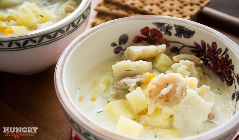 Молочный рыбный суп готов