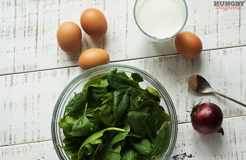Ингредиенты для киша со шпинатом