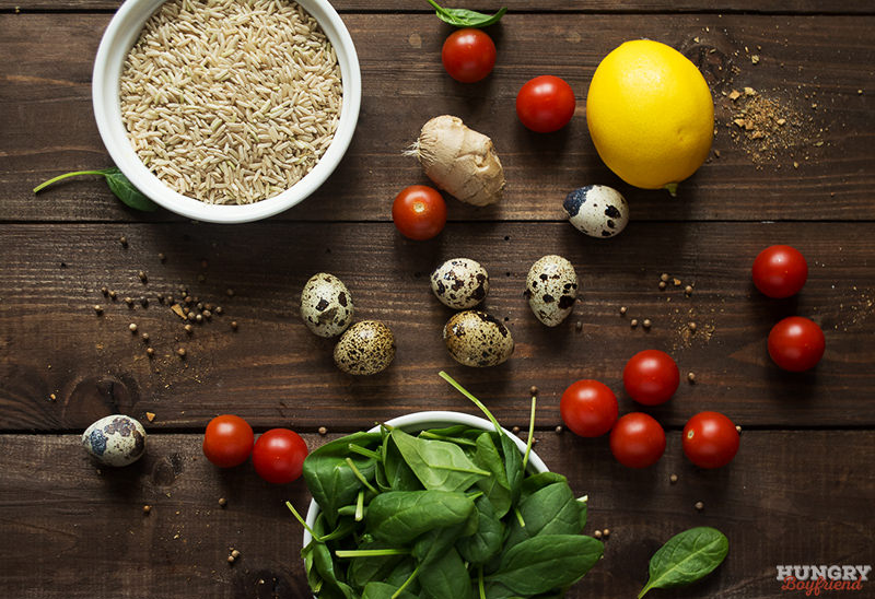 Ингредиенты для риса со шпинатом