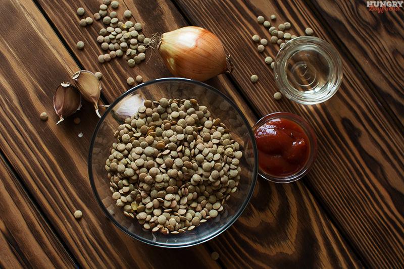 Ингредиенты для котлет из чечевицы