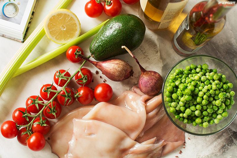 Ингредиенты для блюда с кальмарами